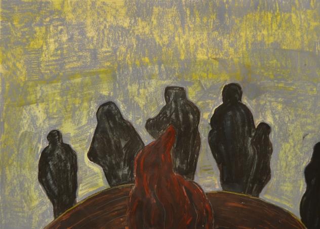 Surrounding fire, 40*60cm, pastel, acrylic on paper, 2017.11