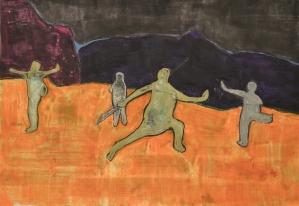 Practising Kongfu, 50*60cm, pastel on paper, 2017.11