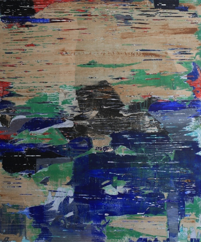 Water surrounds mountains II, 80*120cm, paper, acrylic on canvas 2014.10