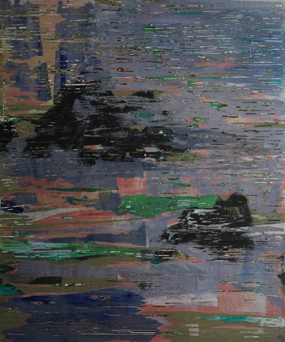Water surrounds mountains I, 80*120cm, paper, acrylic on canvas 2014.10